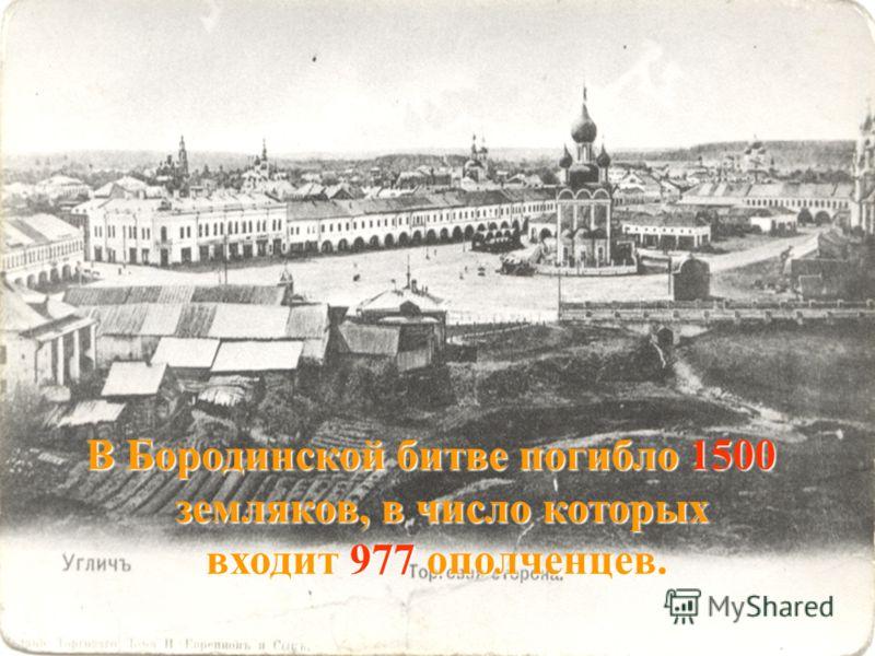 В Бородинской битве погибло 1500 земляков, в число которых земляков, в число которых входит 977 ополченцев. входит 977 ополченцев.