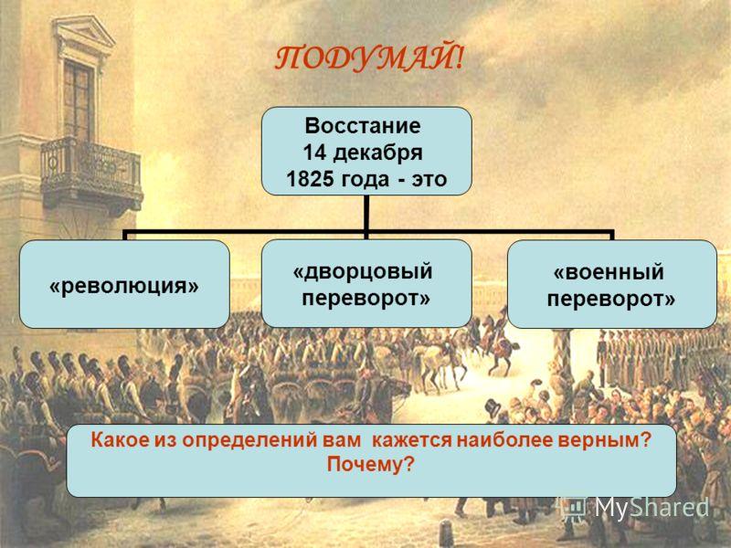 Восстание 14 декабря 1825 года - это «революция» «дворцовый переворот» «военный переворот» Какое из определений вам кажется наиболее верным? Почему? ПОДУМАЙ!