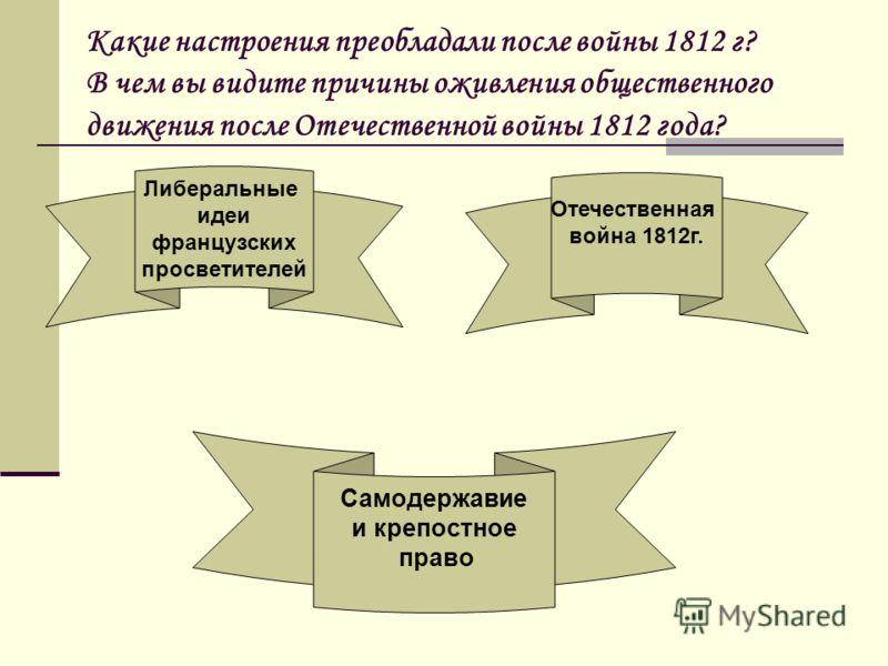 Какие настроения преобладали после войны 1812 г? В чем вы видите причины оживления общественного движения после Отечественной войны 1812 года? Либеральные идеи французских просветителей Отечественная война 1812г. Самодержавие и крепостное право