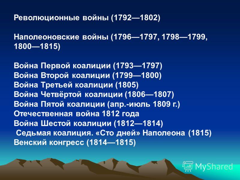 Коалиции против Франции ТретьяАнглия, Австрия, Швеция, Неаполь, Россия 1804 - 180520 ноября 1805 год поражение русско-австрийских войск под Аустерлицем в Моравии, выход Австрии ЧетвёртаяАнглия, Швеция, Пруссия, Саксония, Россия 1806 - 180726 - 27 янв