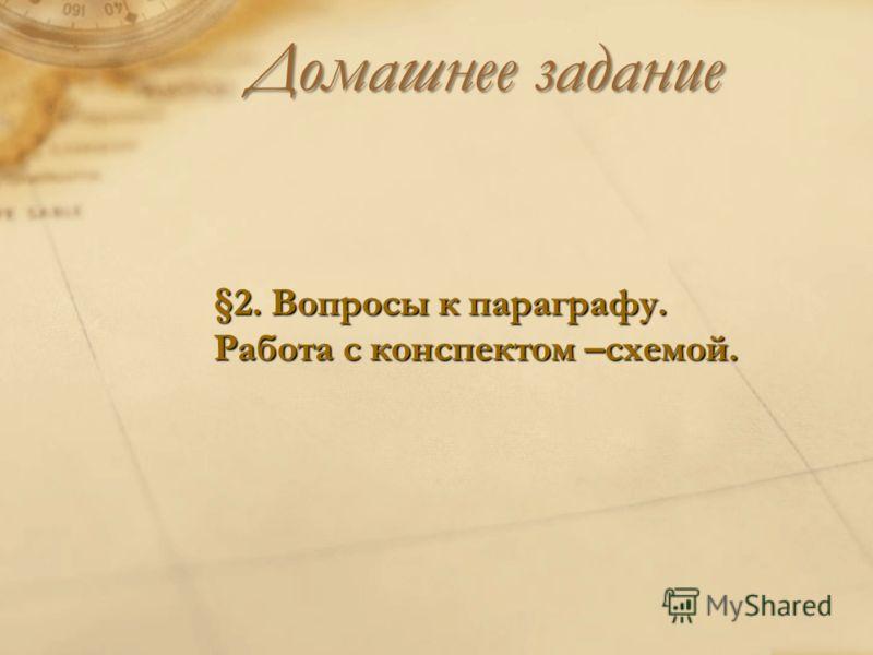 Домашнее задание §2. Вопросы к параграфу. Работа с конспектом –схемой.