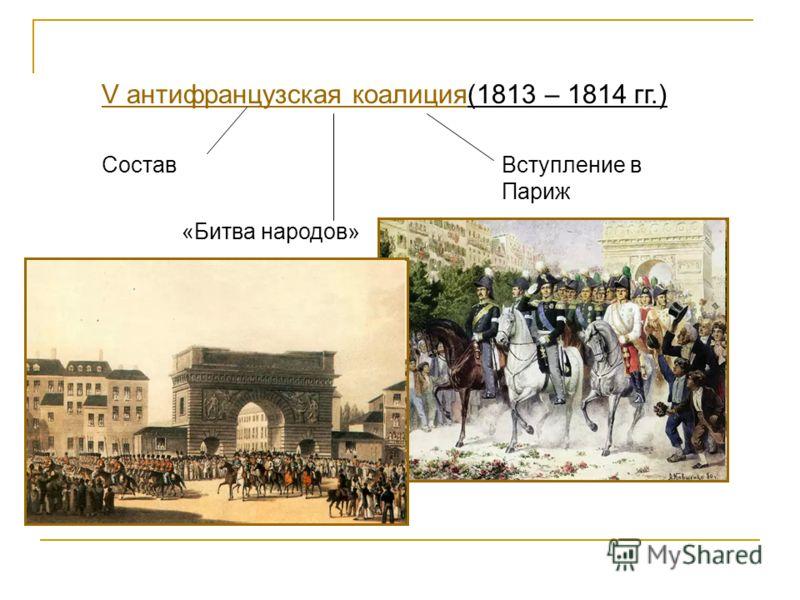 V антифранцузская коалицияV антифранцузская коалиция(1813 – 1814 гг.) Состав «Битва народов» Вступление в Париж