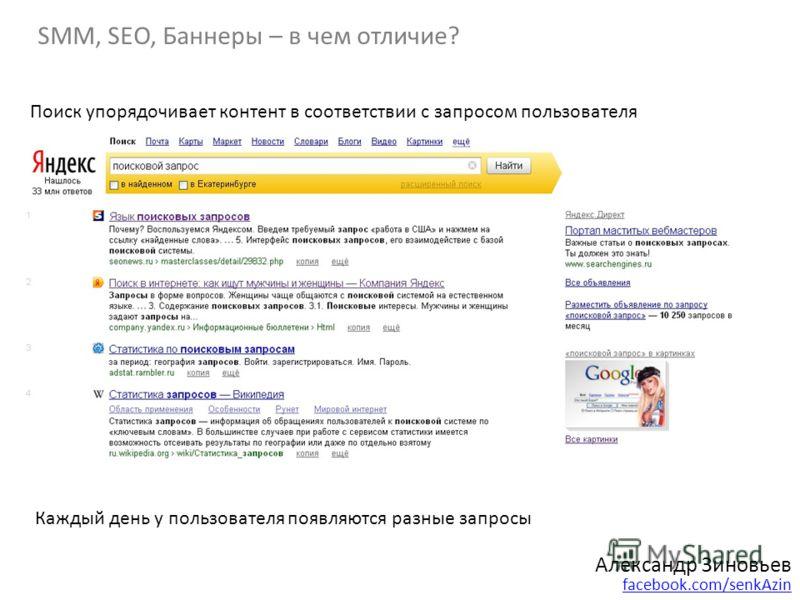 Александр Зиновьев facebook.com/senkAzin SMM, SEO, Баннеры – в чем отличие? Поиск упорядочивает контент в соответствии с запросом пользователя Каждый день у пользователя появляются разные запросы