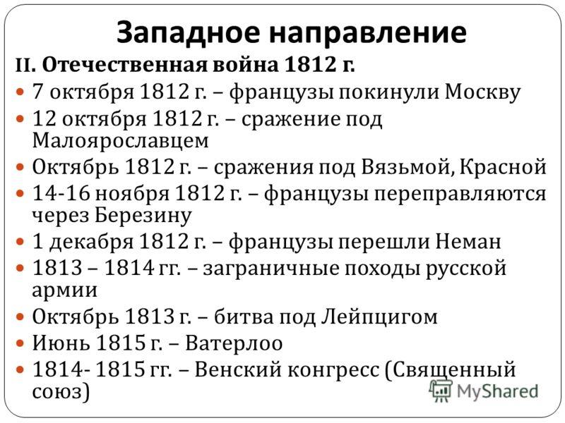 II. Отечественная война 1812 г. 7 октября 1812 г. – французы покинули Москву 12 октября 1812 г. – сражение под Малоярославцем Октябрь 1812 г. – сражения под Вязьмой, Красной 14-16 ноября 1812 г. – французы переправляются через Березину 1 декабря 1812