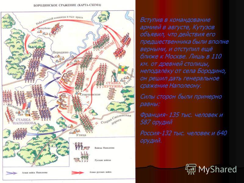 Битва началась в 5-30 утра. Наполеон направил основной удар на левый фланг, где находились Багратионовы Флеши. Бой за них продолжался весь день. Флеши переходили из рук в руки 7 раз, но французам так и не удалось прорвать оборону и выйти в тыл 1-й ар