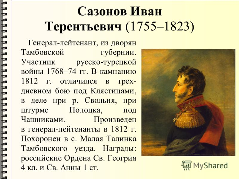 Сазонов Иван Терентьевич (1755–1823) Генерал-лейтенант, из дворян Тамбовской губернии. Участник русско-турецкой войны 1768–74 гг. В кампанию 1812 г. отличился в трех- дневном бою под Клястицами, в деле при р. Свольня, при штурме Полоцка, под Чашникам