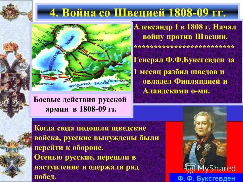 Александр I в 1808 г. Начал войну против Швеции. ************************* Генерал Ф.Ф,Буксгевден за 1 месяц разбил шведов и овладел Финляндией и Аландскими о-ми. 4. Война со Швецией 1808-09 гг. Боевые действия русской армии в 1808-09 гг. Когда сюда