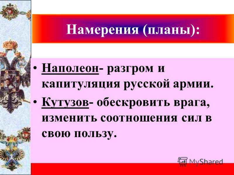 Намерения (планы): Наполеон- разгром и капитуляция русской армии. Кутузов- обескровить врага, изменить соотношения сил в свою пользу.