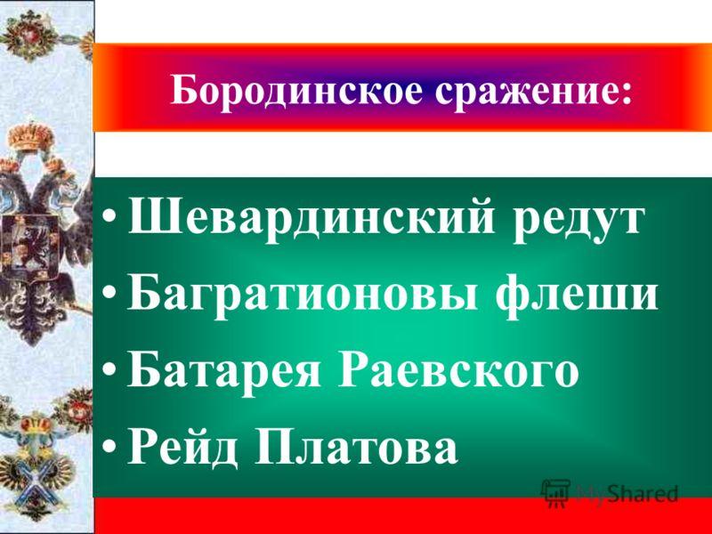Бородинское сражение: Шевардинский редут Багратионовы флеши Батарея Раевского Рейд Платова