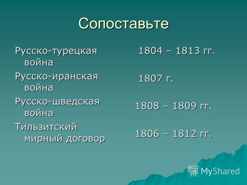 Сопоставьте Русско-турецкая война Русско-иранская война Русско-шведская война Тильзитский мирный договор 1804 – 1813 гг. 1804 – 1813 гг. 1807 г. 1807 г. 1808 – 1809 гг. 1808 – 1809 гг. 1806 – 1812 гг. 1806 – 1812 гг.