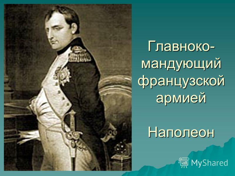Главноко- мандующий французской армией Наполеон
