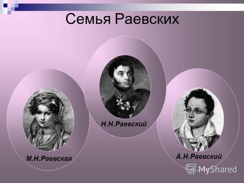 Семья Раевских М.Н.Раевская Н.Н.Раевский А.Н.Раевский