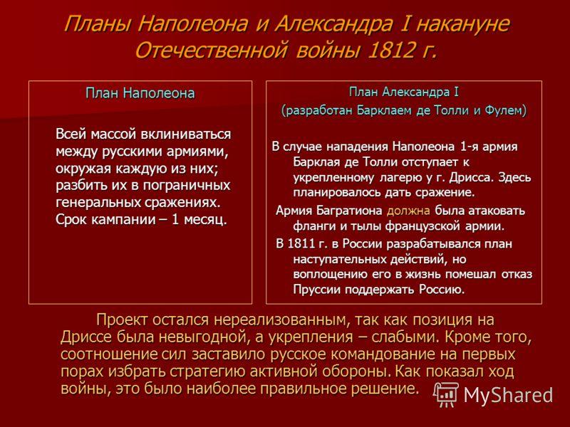 Планы Наполеона и Александра I накануне Отечественной войны 1812 г. План Наполеона Всей массой вклиниваться между русскими армиями, окружая каждую из них; разбить их в пограничных генеральных сражениях. Срок кампании – 1 месяц. План Александра I (раз