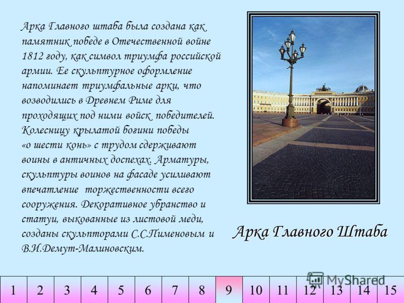 234567891011141511213 Арка Главного Штаба Арка Главного штаба была создана как памятник победе в Отечественной войне 1812 году, как символ триумфа российской армии. Ее скульптурное оформление напоминает триумфальные арки, что возводились в Древнем Ри