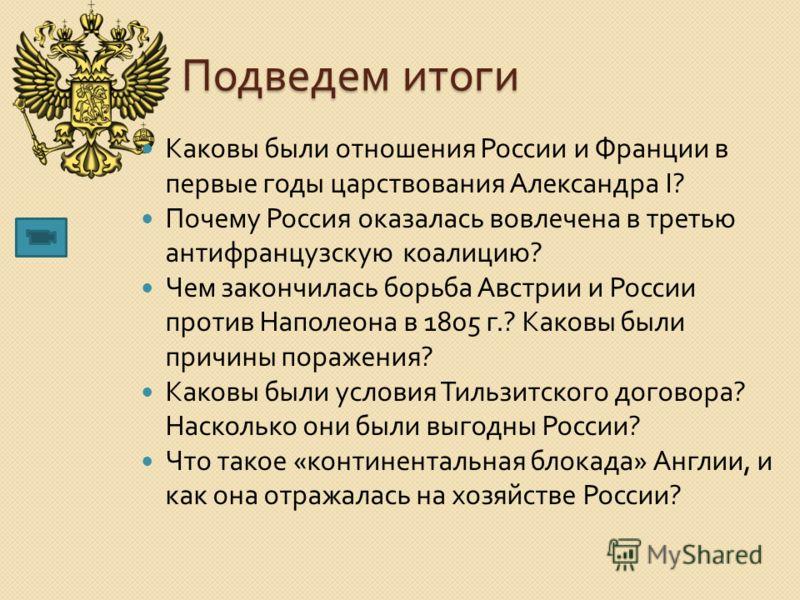 Подведем итоги Каковы были отношения России и Франции в первые годы царствования Александра I? Почему Россия оказалась вовлечена в третью антифранцузскую коалицию ? Чем закончилась борьба Австрии и России против Наполеона в 1805 г.? Каковы были причи
