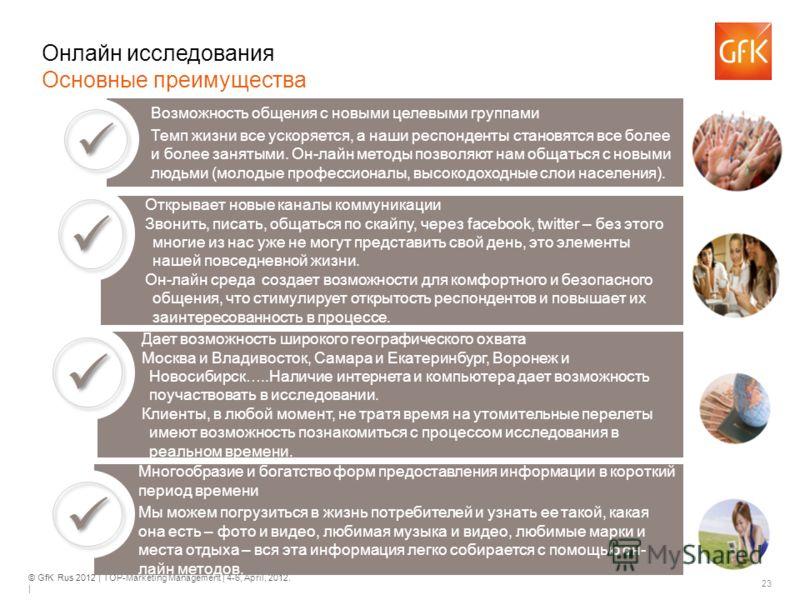 © GfK Rus 2012 | TOP-Marketing Management | 4-6, April, 2012. | 23 Онлайн исследования Основные преимущества Возможность общения с новыми целевыми группами Темп жизни все ускоряется, а наши респонденты становятся все более и более занятыми. Он-лайн м