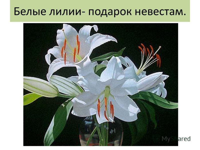 Белые лилии- подарок невестам.