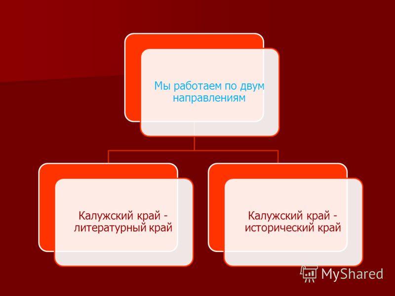 Мы работаем по двум направлениям Калужский край - литературный край Калужский край - исторический край