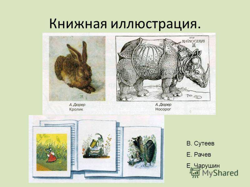 Книжная иллюстрация. В. Сутеев Е. Рачев Е. Чарушин