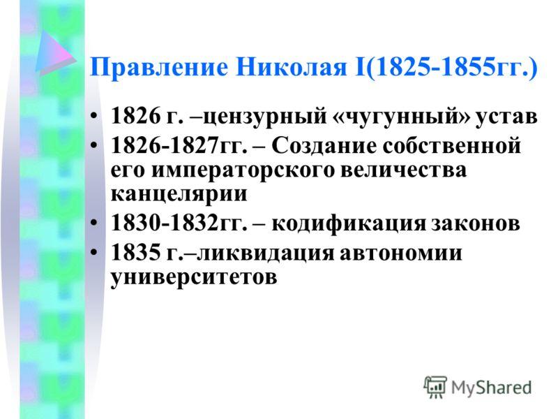 Правление Николая I(1825-1855гг.) 1826 г. –цензурный «чугунный» устав 1826-1827гг. – Создание собственной его императорского величества канцелярии 1830-1832гг. – кодификация законов 1835 г.–ликвидация автономии университетов