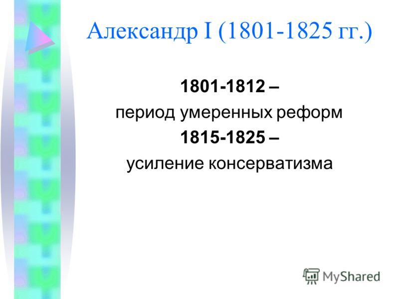 Александр I (1801-1825 гг.) 1801-1812 – период умеренных реформ 1815-1825 – усиление консерватизма
