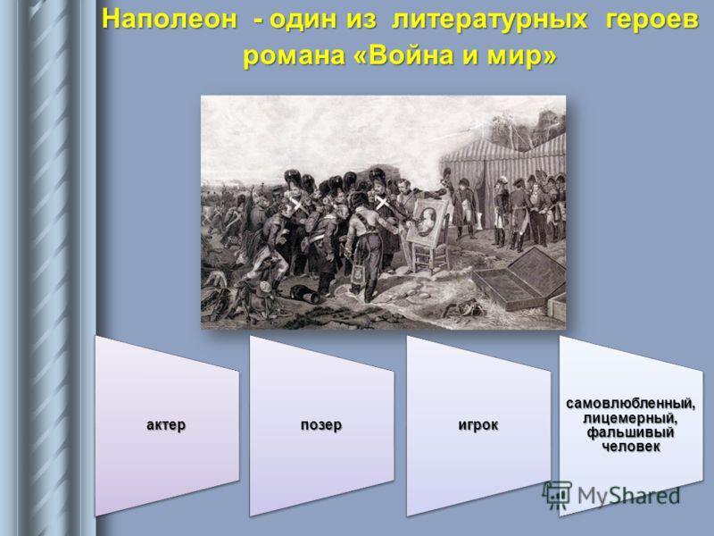 Наполеон - один из литературных героев романа «Война и мир» актерпозеригрок самовлюбленный, лицемерный, фальшивый человек