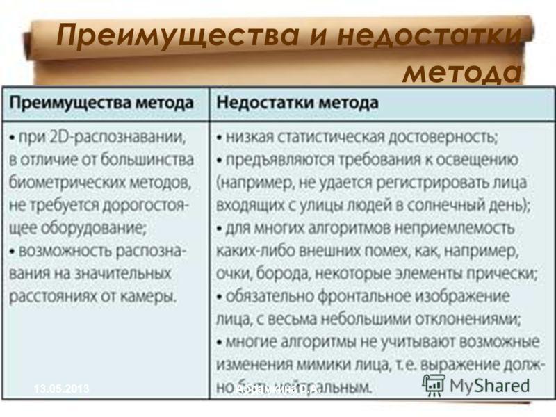 Преимущества и недостатки метода 13.05.2013Абрамкина С.А.