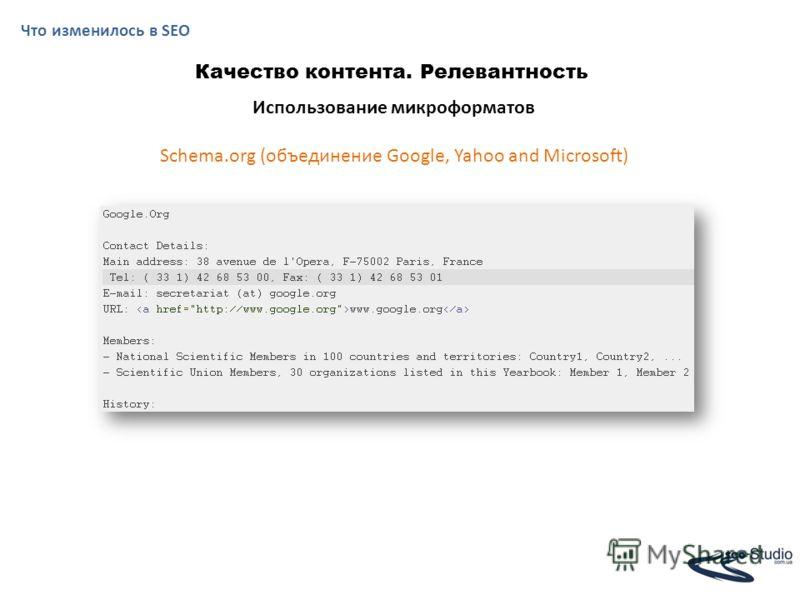 Что изменилось в SEO Качество контента. Релевантность Использование микроформатов Schema.org (объединение Google, Yahoo and Microsoft)