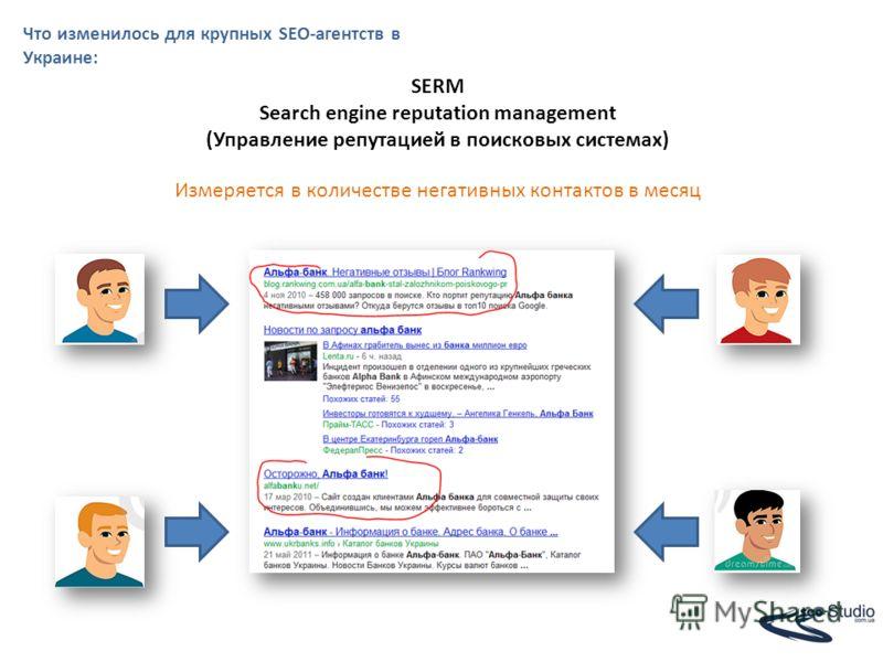 Что изменилось для крупных SEO-агентств в Украине: SERM Search engine reputation management (Управление репутацией в поисковых системах) Измеряется в количестве негативных контактов в месяц