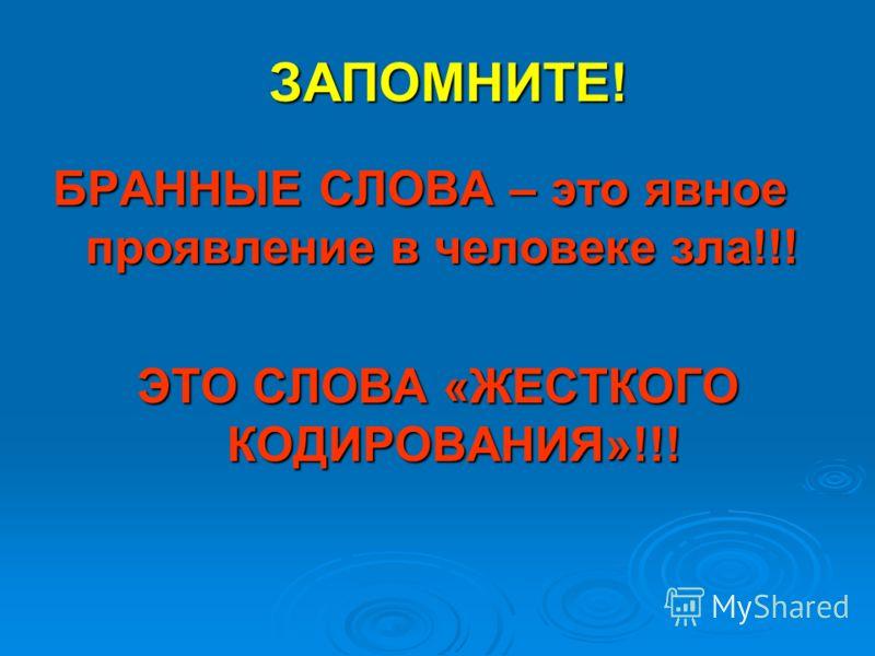 ЗАПОМНИТЕ! БРАННЫЕ СЛОВА – это явное проявление в человеке зла!!! ЭТО СЛОВА «ЖЕСТКОГО КОДИРОВАНИЯ»!!!