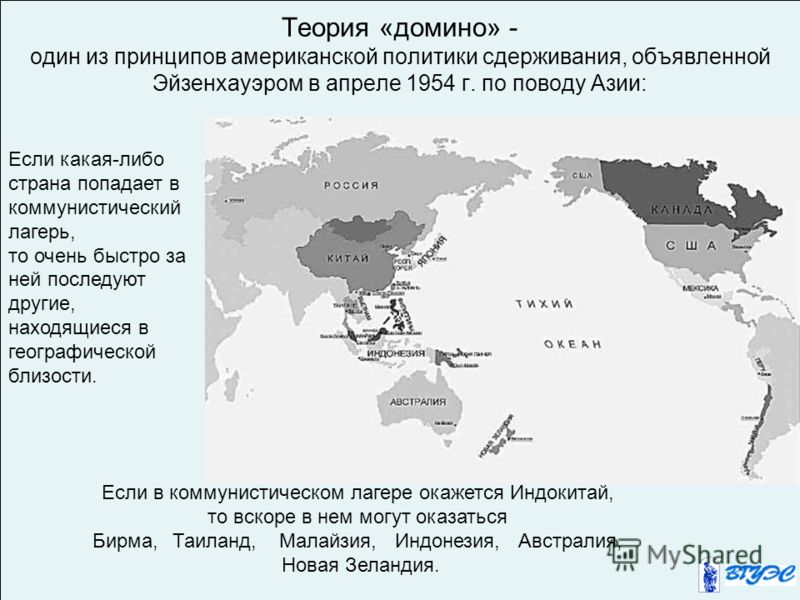 Теория «домино» - один из принципов американской политики сдерживания, объявленной Эйзенхауэром в апреле 1954 г. по поводу Азии: Если какая-либо страна попадает в коммунистический лагерь, то очень быстро за ней последуют другие, находящиеся в географ