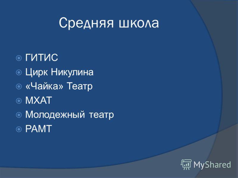 Средняя школа ГИТИС Цирк Никулина «Чайка» Театр МХАТ Молодежный театр РАМТ