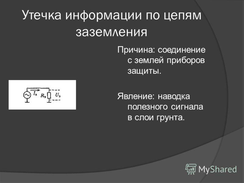 Утечка информации по цепям заземления Причина: соединение с землей приборов защиты. Явление: наводка полезного сигнала в слои грунта.