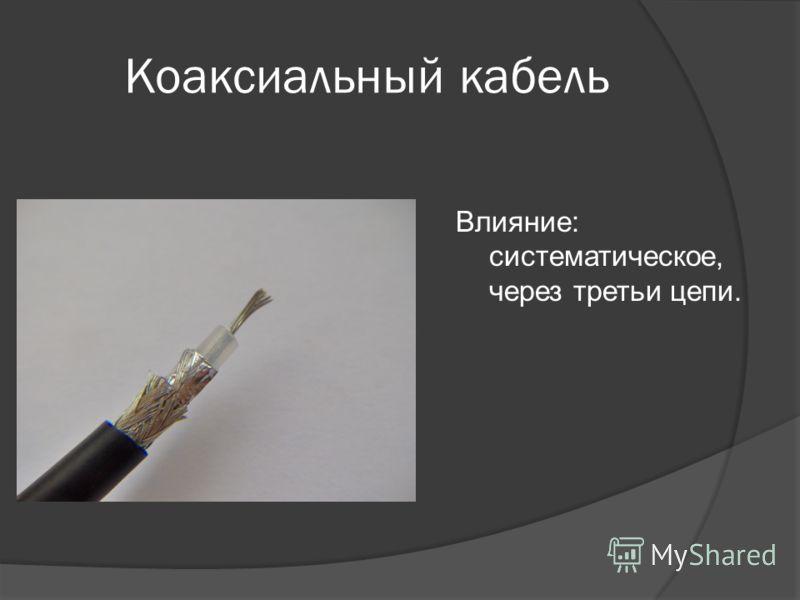 Коаксиальный кабель Влияние: систематическое, через третьи цепи.