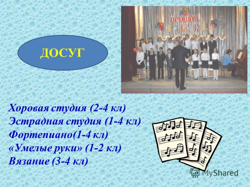 ДОСУГ Хоровая студия (2-4 кл) Эстрадная студия (1-4 кл) Фортепиано(1-4 кл) «Умелые руки» (1-2 кл) Вязание (3-4 кл)