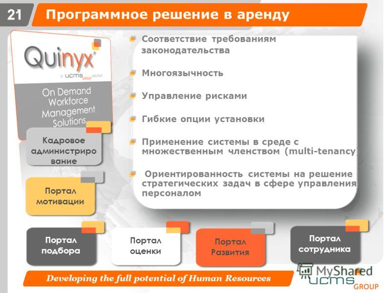 Developing the full potential of Human Resources 20 Программное решение в аренду 20 Программное решение в аренду