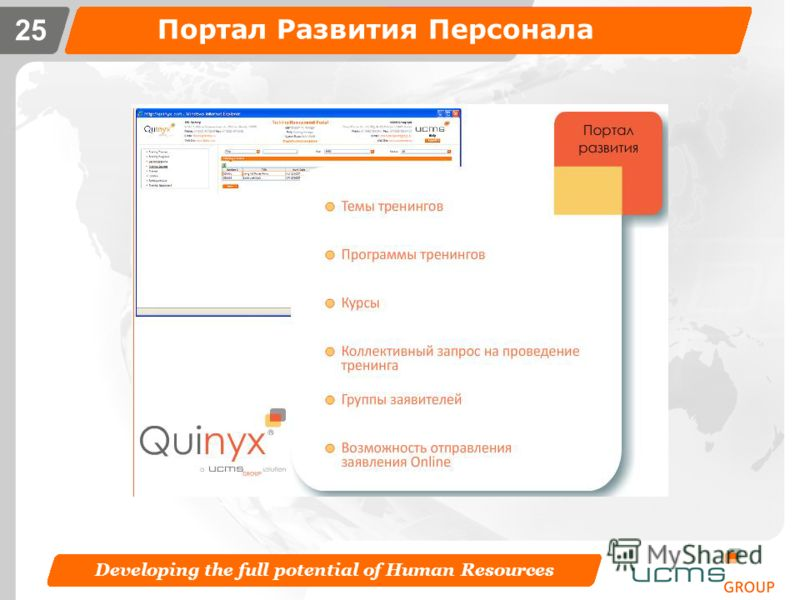 Developing the full potential of Human Resources 24 Портал Оценки Персонала