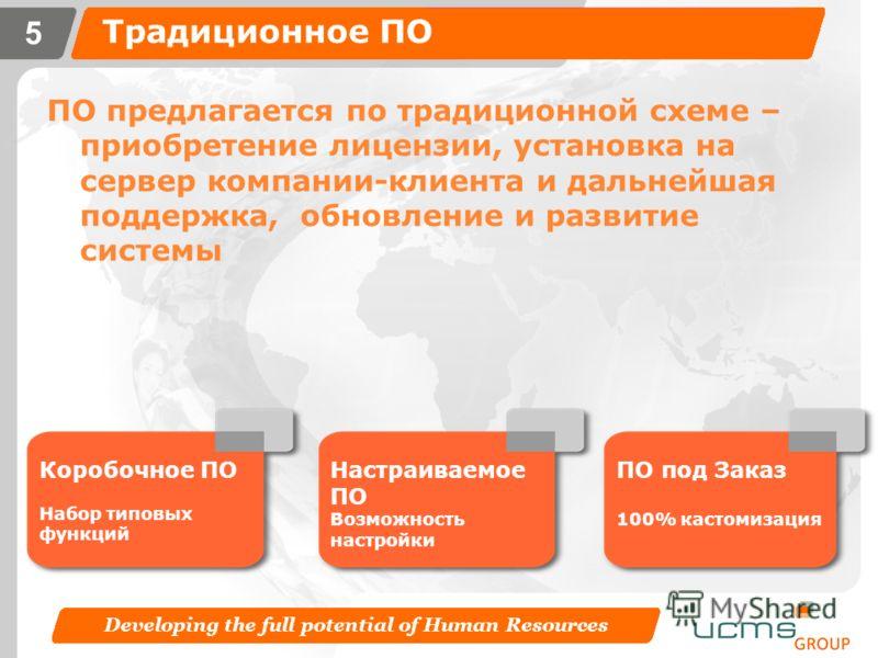 Developing the full potential of Human Resources 4 Организация процессов HR отдела Программное обеспечение Программное обеспечение в аренду/ Software on demand Или Аутсорсинг бизнес- процесов Традиционное программное обеспечение