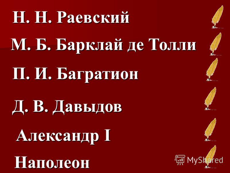 Н. Н. Раевский М. Б. Барклай де Толли П. И. Багратион Д. В. Давыдов Александр I Наполеон