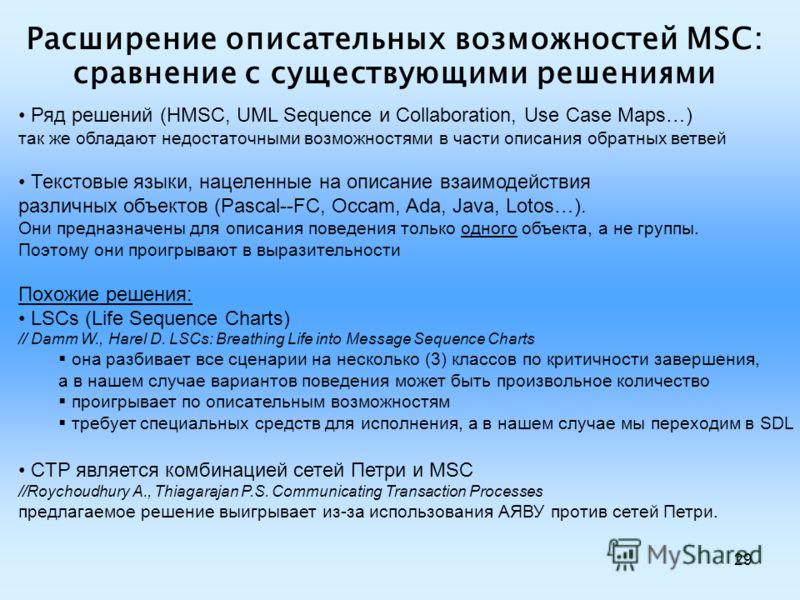 29 Расширение описательных возможностей MSC: сравнение с существующими решениями Ряд решений (HMSC, UML Sequence и Collaboration, Use Case Maps…) так же обладают недостаточными возможностями в части описания обратных ветвей Текстовые языки, нацеленны
