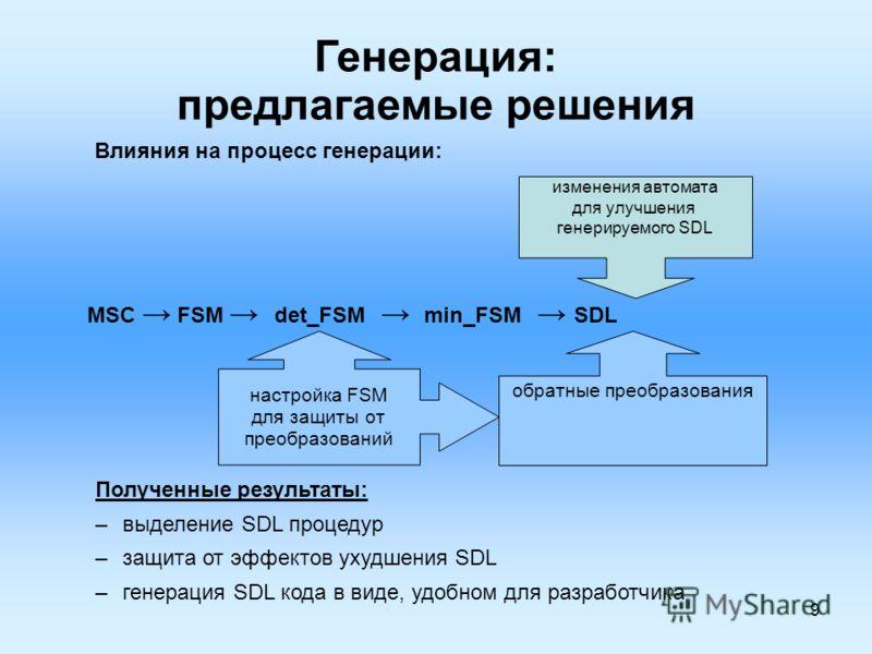 9 Генерация: предлагаемые решения MSC FSM det_FSM min_FSM SDL Полученные результаты: –выделение SDL процедур –защита от эффектов ухудшения SDL –генерация SDL кода в виде, удобном для разработчика обратные преобразования настройка FSM для защиты от пр
