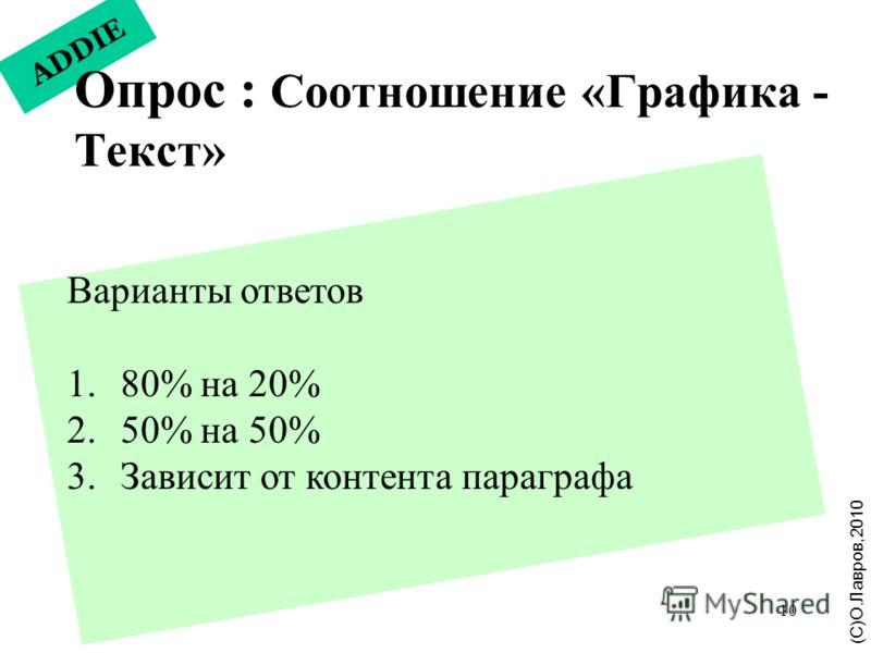 10 ADDIE Опрос : Соотношение «Графика - Текст» (С)О.Лавров,2010 Варианты ответов 1. 80% на 20% 2. 50% на 50% 3. Зависит от контента параграфа
