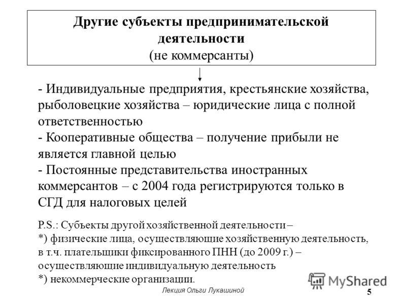 Лекция Ольги Лукашиной 5 Другие субъекты предпринимательской деятельности (не коммерсанты) - Индивидуальные предприятия, крестьянские хозяйства, рыболовецкие хозяйства – юридические лица с полной ответственностью - Кооперативные общества – получение