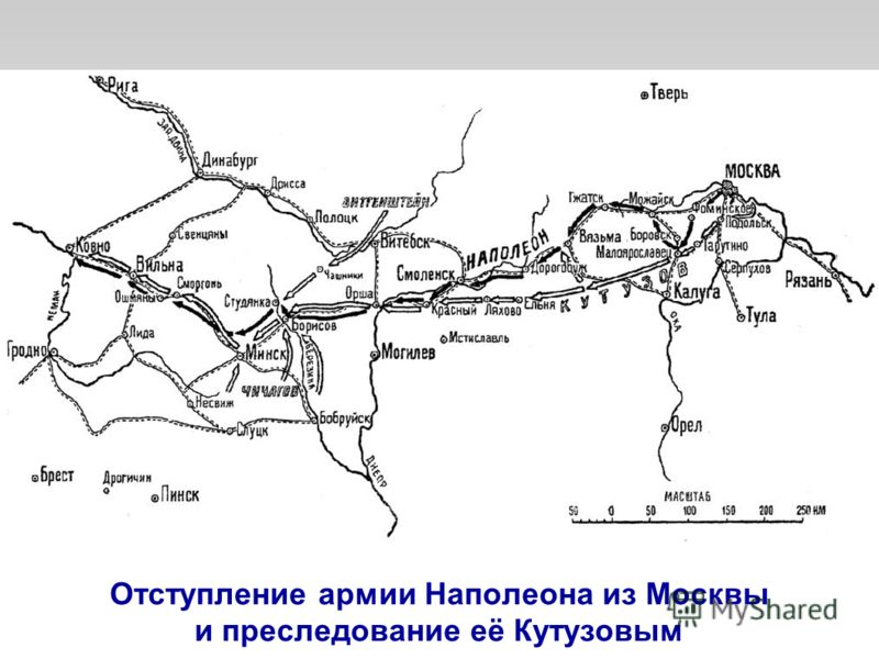 Отступление армии Наполеона из Москвы и преследование её Кутузовым