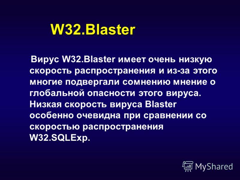 W32.Blaster Вирус W32.Blaster имеет очень низкую скорость распространения и из-за этого многие подвергали сомнению мнение о глобальной опасности этого вируса. Низкая скорость вируса Blaster особенно очевидна при сравнении со скоростью распространения