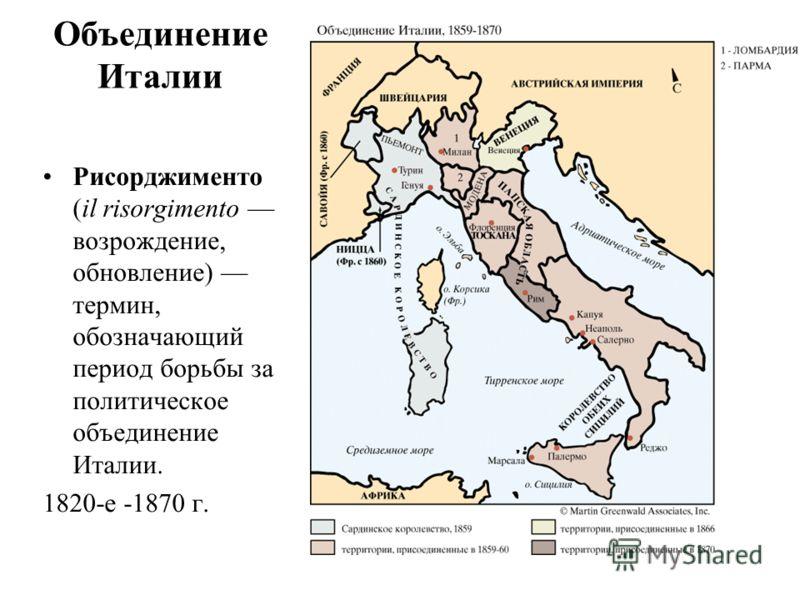 Объединение Италии Рисорджименто (il risorgimento возрождение, обновление) термин, обозначающий период борьбы за политическое объединение Италии. 1820-е -1870 г.