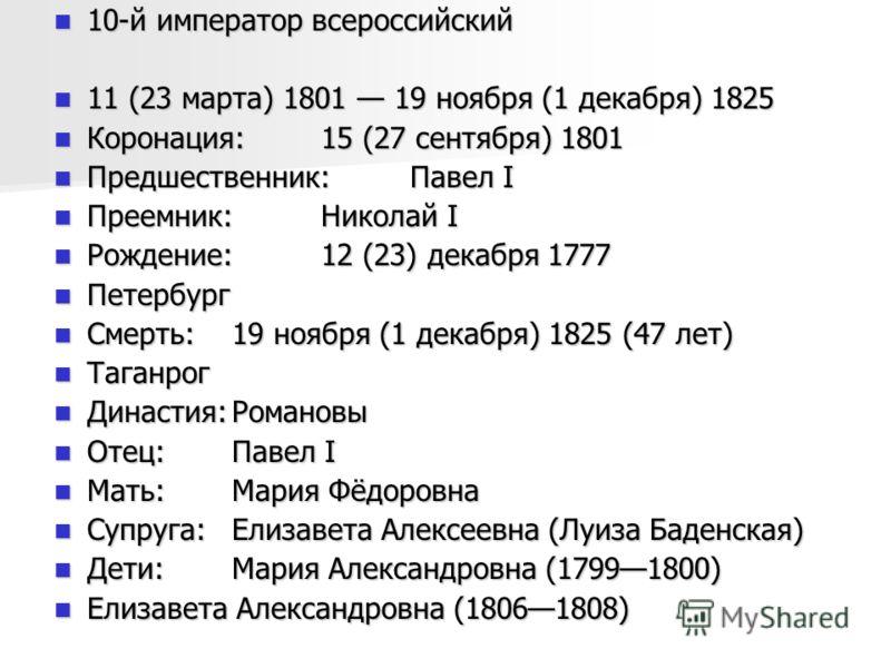 10-й император всероссийский 10-й император всероссийский 11 (23 марта) 1801 19 ноября (1 декабря) 1825 11 (23 марта) 1801 19 ноября (1 декабря) 1825 Коронация:15 (27 сентября) 1801 Коронация:15 (27 сентября) 1801 Предшественник:Павел I Предшественни