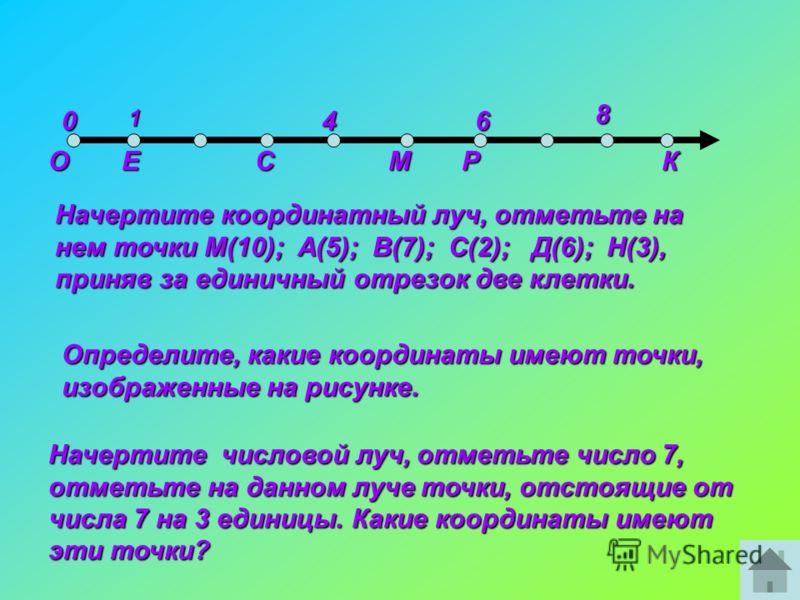 0146 8 ОЕ Начертите координатный луч, отметьте на нем точки М(10); А(5); В(7); С(2); Д(6); Н(3), приняв за единичный отрезок две клетки. Определите, какие координаты имеют точки, изображенные на рисунке. СМКР Начертите числовой луч, отметьте число 7,