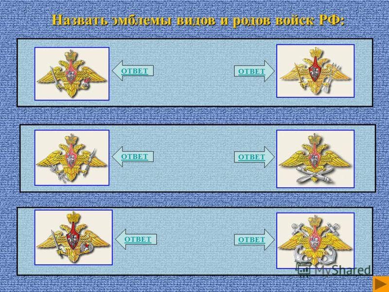 Назвать эмблемы видов и родов войск РФ: ОТВЕТ