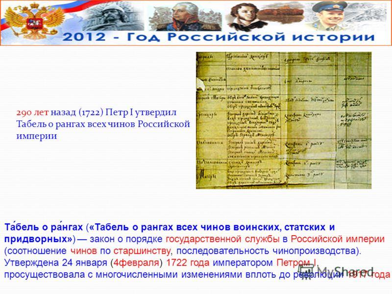290 лет назад (1722) Петр I утвердил Табель о рангах всех чинов Российской империи Та́бель о ра́нгах («Табель о рангах всех чинов воинских, статских и придворных») закон о порядке государственной службы в Российской империи (соотношение чинов по стар